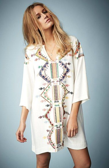 TOPSHOP | Beige Embroidered Smock Dress By Kate Moss For