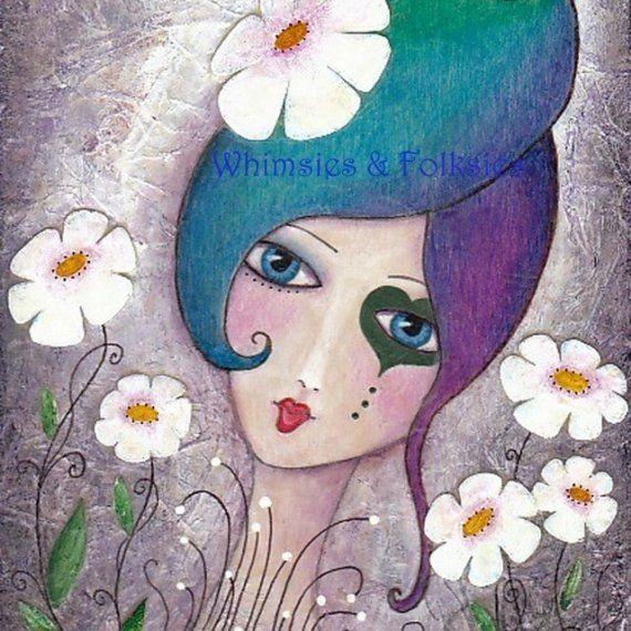 Whimsical Girl Folk Art - Funky Rainbow Hair Print. Joann Loftus