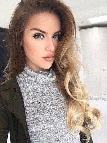 ☆//@Jennyc0329 long blonde brunette hair wavy curly ombre // makeup