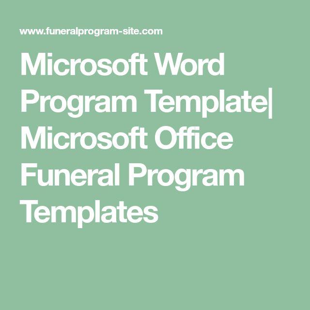 Microsoft Word Program Template| Microsoft Office Funeral Program Templates