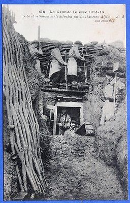 TWWI, 1915, Trench defended by Alpine Hunters (Chausseurs Alpins).