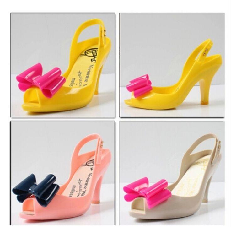 Mixed Color Women's Plastic Cute Bow Peep Toe High Heel Jelly ...
