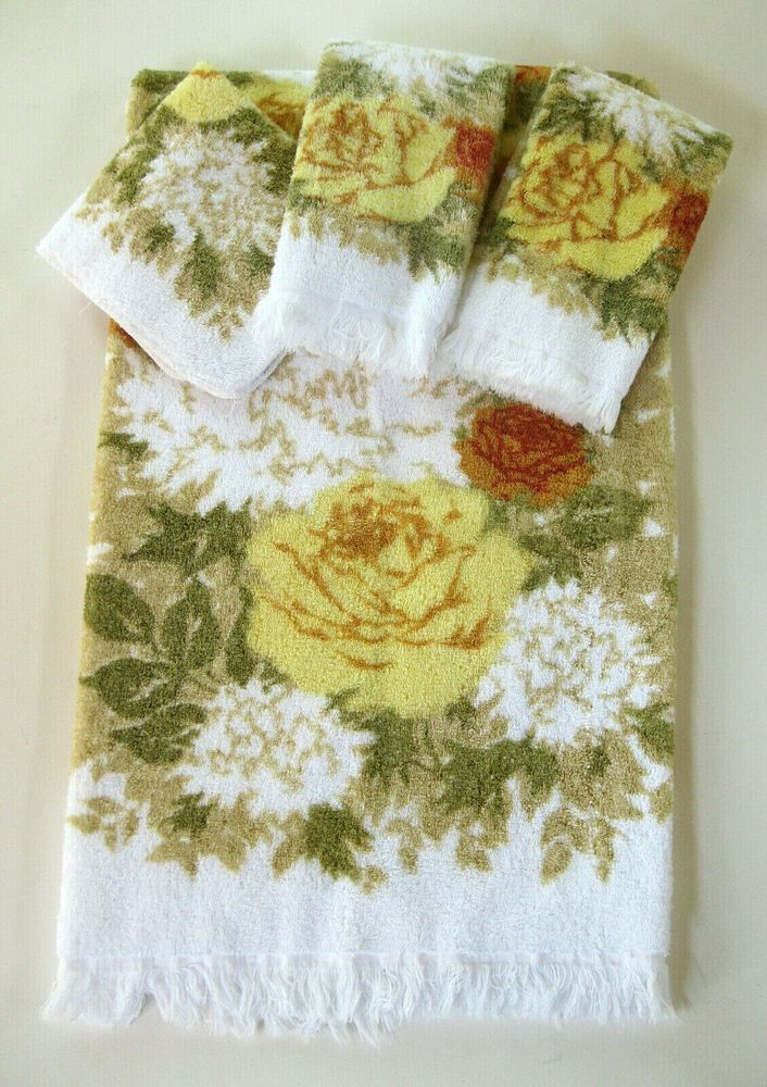 Details About Vtg Fieldcrest Towels Yellow Rose Royal Velvet
