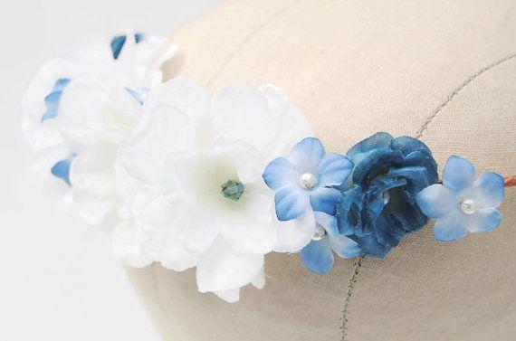 Bridal Tiara - Wedding Headpiece - Something Blue - Wedding Crown - Wedding Hair Flowers - Floral Crown Headband - Olivia