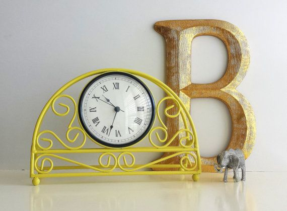 Yellow Mantel Clock   Table Clock Desk Kitchen by CurrentClassic, $24.50