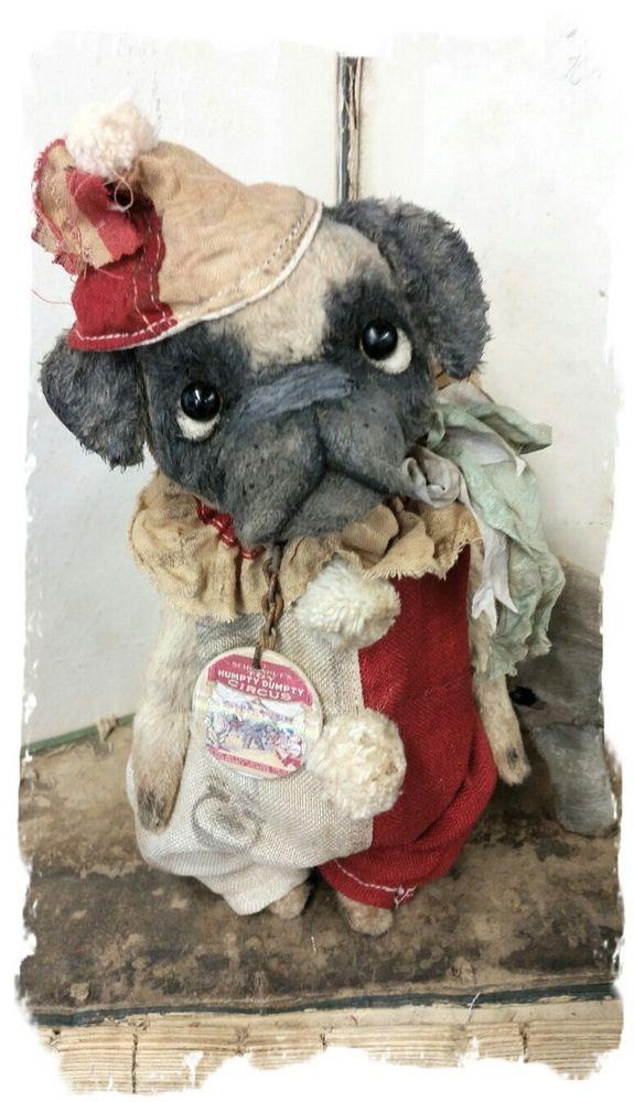 "Image of ""Schoenhut Circus"" CLown PUG Dog in romper & hat  ~ 8"" size  *  Whendi's Bears"
