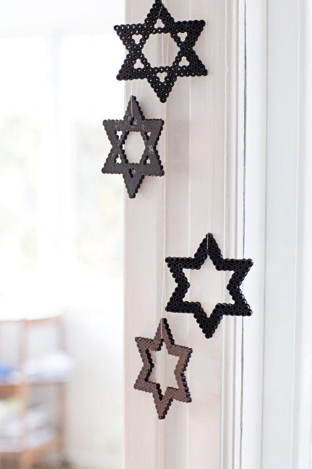 hama perler stjerne sort grå moderne stjerner jul dekoration
