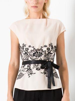 Стильная блузка трендового пудрового цвета. Шикарная цветочная вышивка, поясок - все, что нужно для романтического вечера!