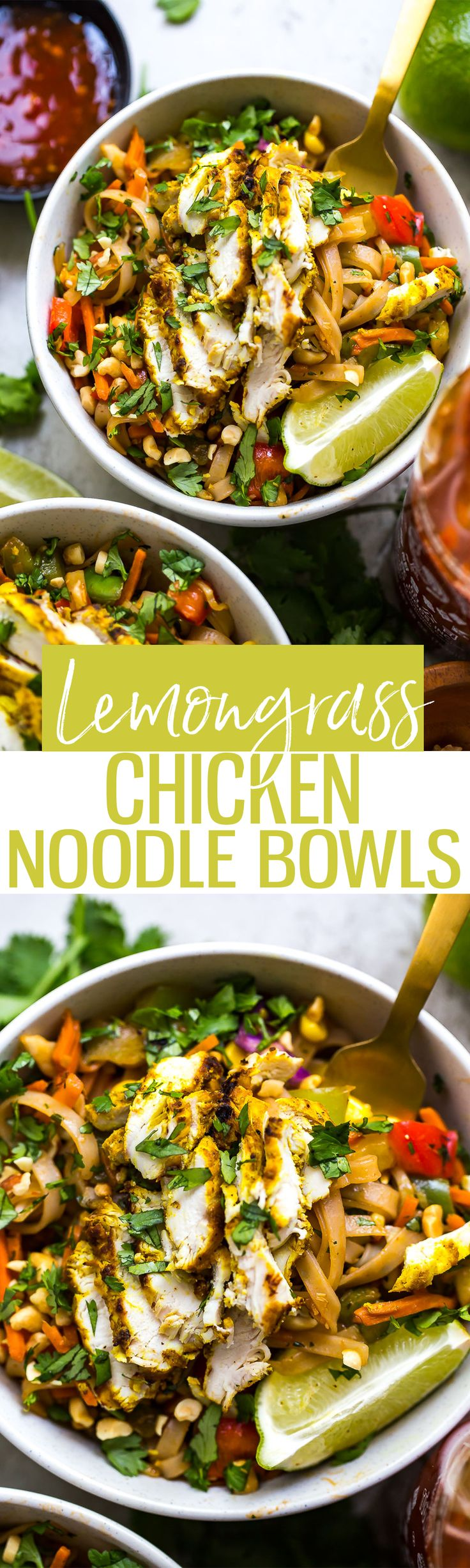 These Lemongrass Chicken Noodle Bowls are a delicious, gluten-free healthy lunch or dinner idea and made with rice noodles, grilled chicken and tons of veggies!