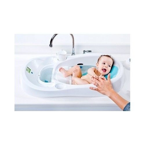 4Moms INFANT TUB, White Baby Bath Safety Bathtub Digital Temperature