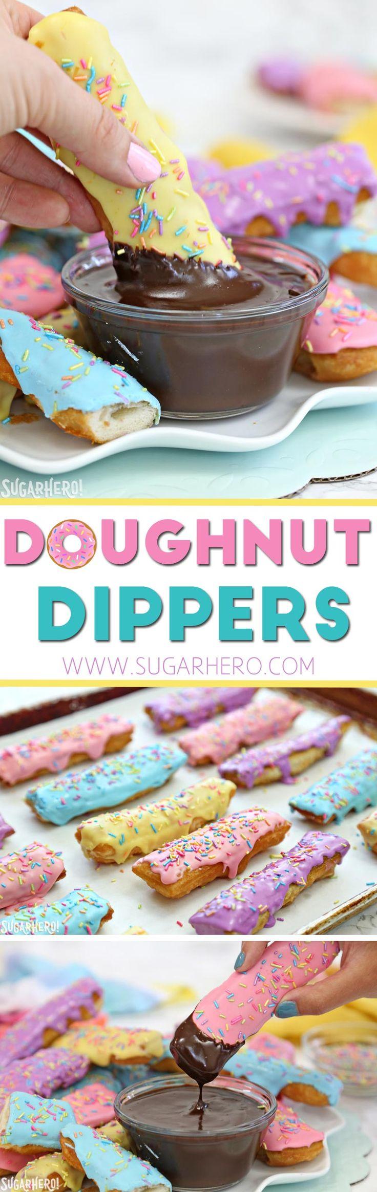 Doughnut Dippers - super easy homemade doughnuts with warm mocha sauce!   From SugarHero.com