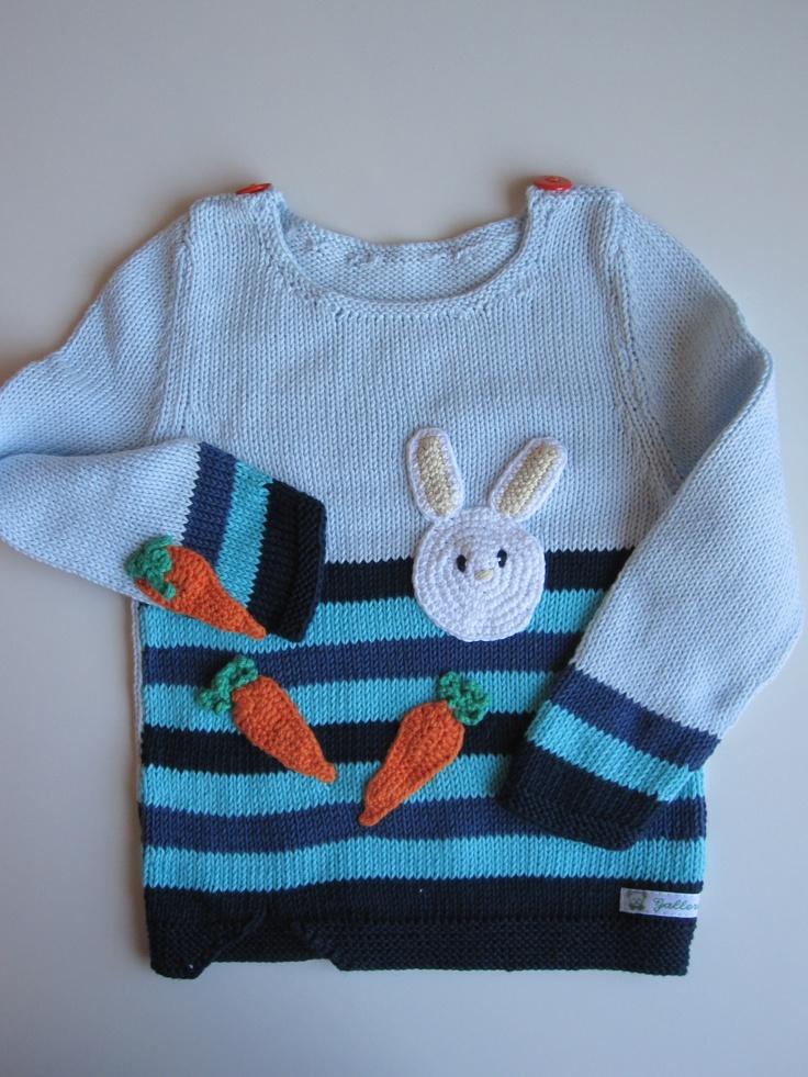 Ka´niner li´ gulerødder?? #rabbits #sweater #design #knitting #carrots #gallerigavlen