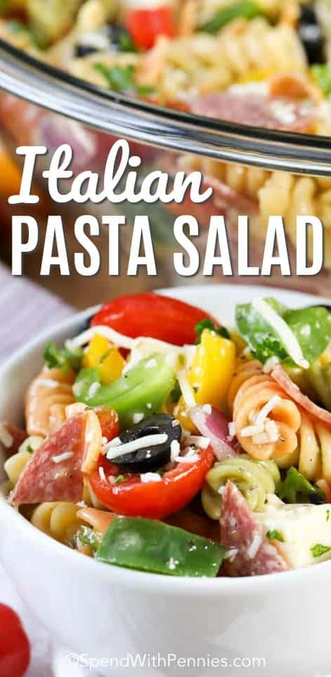 6f1389b09 Italian pasta salad is one of my favorite cold pasta salad dishes! Fresh  and colorful vegetables, cheese, salami, and Italian vinaigrette are tossed  with ...