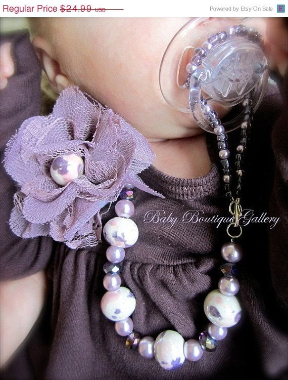 ON SALE Baby Boutique Purple Vintage Flower with White Pearl 4-in-1 Beaded Pacifier Holder