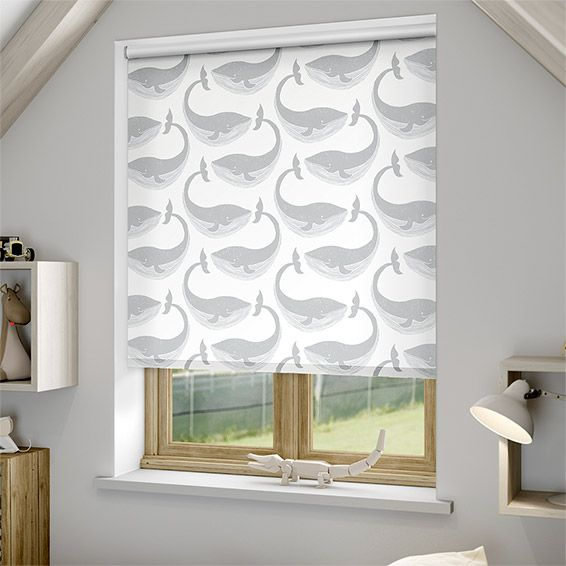 How cute is the Whale of a Time Slate roller blind? The friendly pod of whales is happily swimming, so calm and sweet, and the neutral tones keep it feeling serene.