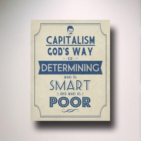 RON SWANSON Capitalism Quote Typography Print / Parks and Recreation / Parks and Rec / Parks & Rec Quote $15
