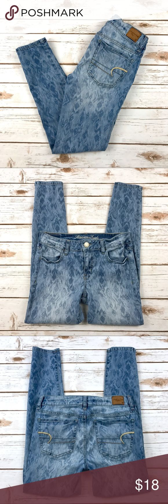 """American Eagle Jegging Jeans Ankle LengthSize 4 American Eagle Jegging Jeans Super Stretch Ankle Length Size 4 Materials: 77% cotton, 14% polyester, 13% rayon, 1% spandex Pre-owned in excellent condition!   Actual measurements taken laying flat: waist- 13.5"""" rise- 7.75"""" inseam- 26.5"""" leg opening- 4.75""""   Location- C16 American Eagle Outfitters Jeans Skinny"""