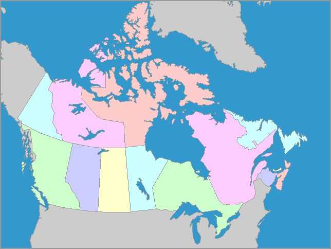 Interactive map of Canada - scroll over for province name