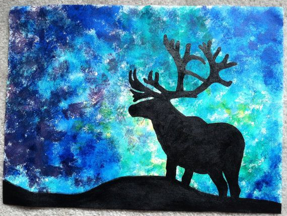 acrylic northern lights caribou silhouette by