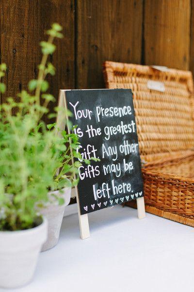 Simple chalkboard wedding sign idea - wedding gift sign idea for reception {Megan Clouse Photography}