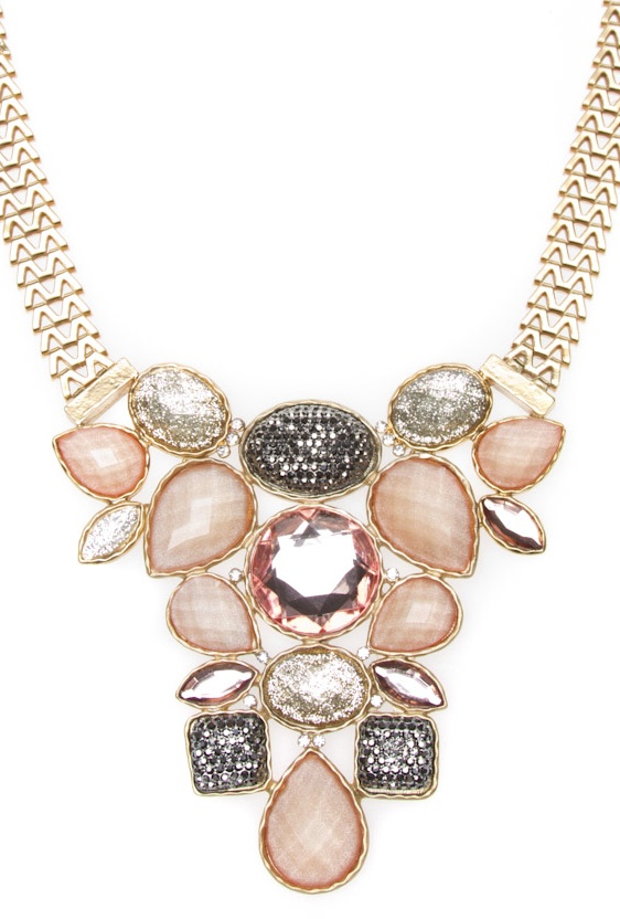 statement necklace. I love that this piece is silver, gold, and neutral tones.