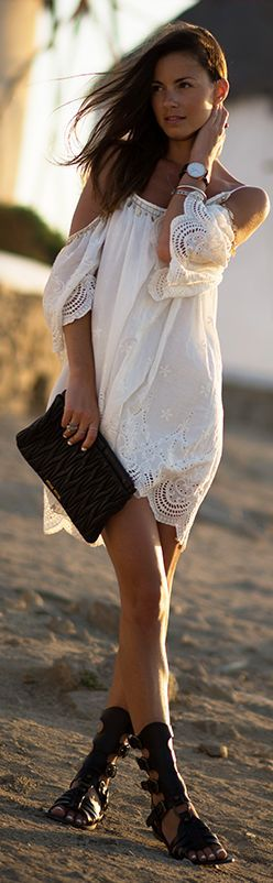 Sheinside White Scalloped Hem Lace Detail Drop Shoulder Cami Dress