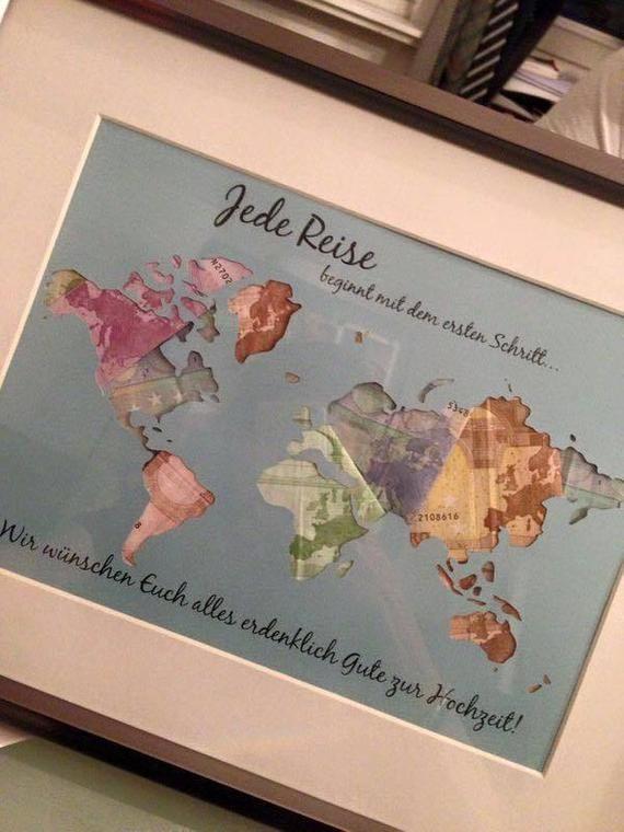 Individuelle Geschenkidee *Weltkarte* Geldgeschenk zur Hochzeit