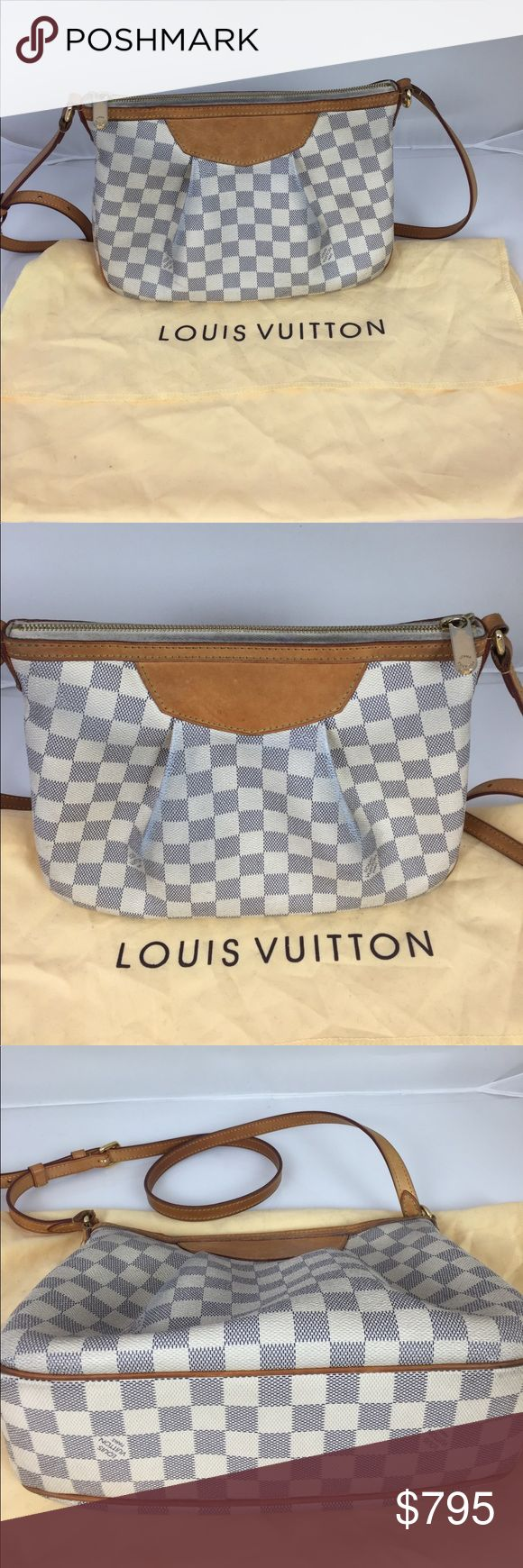 Louis Vuitton Siracusa Crossbag! Authentic O N E H O U R S A L E 👜 LV ✨authentic Price drop!!! Authentic Louis Vuitton Siracusa cross bag. size L: 11 H: 8 Condition used. Great to wear everyday! Original owner and loved!!! Comes with original dust bag and box. No trades and low balling.  Bought in 2015 at the LOUIS  VUITTON store South Coast plaza City of costa mesa, CA.  Slight color transfer and can use cleaning inside due to some makeup marks. Tiny water stains. Zipper has some fading…
