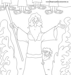 Moses parting the red sea pillar coloring page coloring pages for Parting of the red sea coloring page