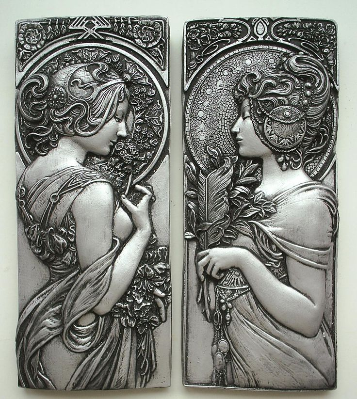 Mucha style art nouveau plaques in silver effect. I've loved Mucha - whether pronounced properly or not - since I was a child.