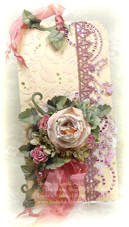 Linda Duke for spellbinders: Christmas Cards, Rose Scrapbook, Rose Tags, Scrapbook Tags, Spellbinders Ideas, Pink Rose, Tags Cards, Christmas Tags, Beautiful Cards 2