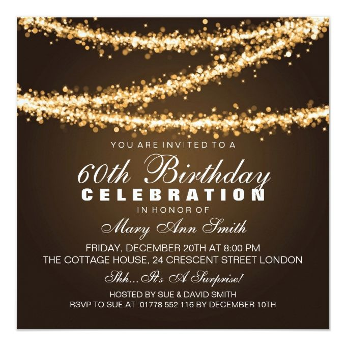 Elegant 60th Birthday Party Gold String Lights Invitation