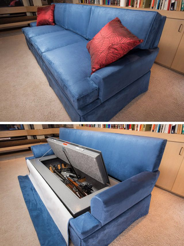 A couch that can store up to 30 rifles and with cushions that can stop a .44 Magnum bullet at point blank range is now available in America.The world's first 'CouchBunker' comes complete with bullet-proof cushions fitted with straps so they can be worn as armour when on the move.