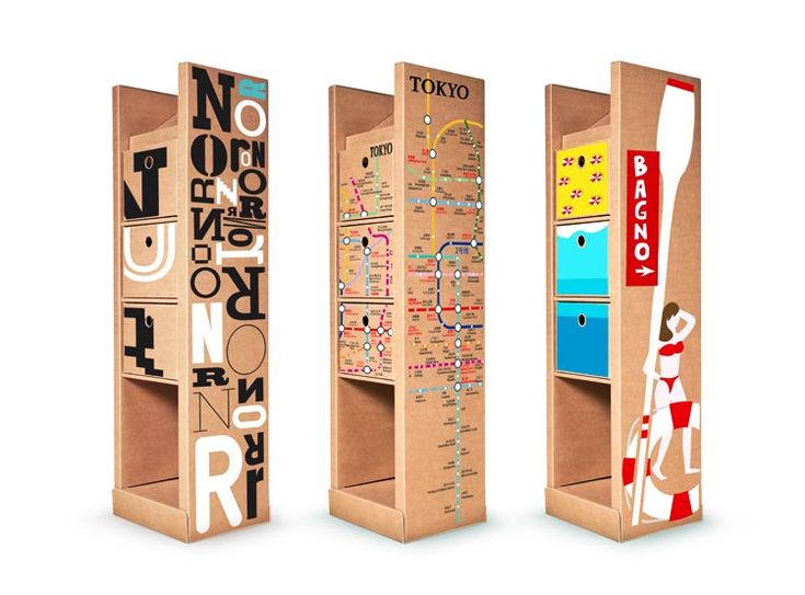 Cardboard 2.0, an amazing piece of self standing furniture all made of microtriple thick paperboard totally recyclable and ideal for fostering your business.