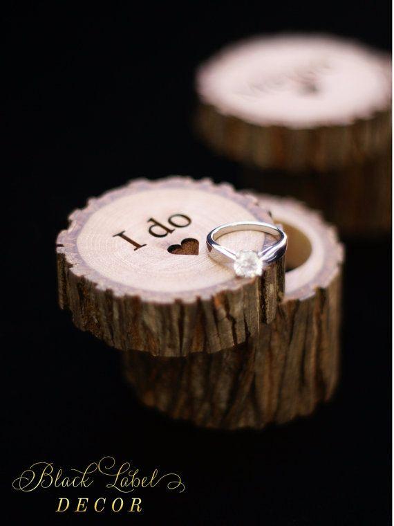 Engraved Wood Wedding Ring Bearer Slice, Rustic Wooden Ring Holder, Reclaimed Hickory Ring Bearer Pillow - Black Velvet Lined!
