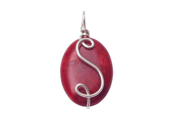 Pendants – A pendant - coral with an initial – a unique product by betulek on DaWanda