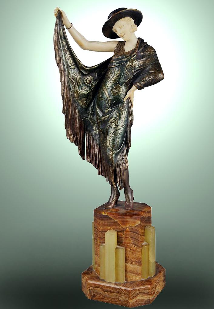 """""""Argentinian Dance"""" a chryselephantine sculpture by Armand Godard, France circa 1920s."""