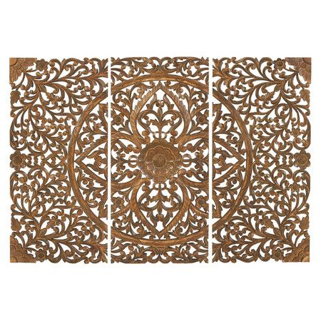 Three-piece wood wall plaque with intricate medallion and scrolled leaf detail.  Product: 3 Piece wall décor set...