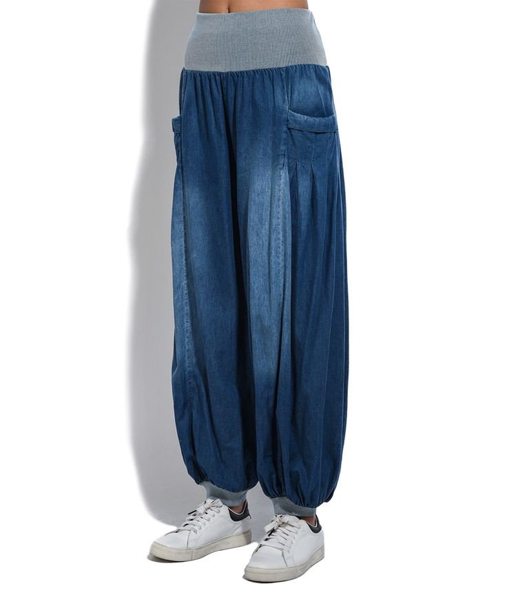Blue Denim-Effect Harem Pants - Plus Too