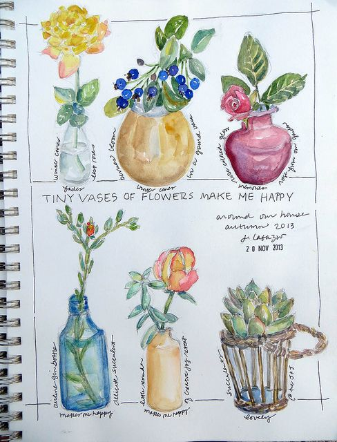 from my sketchbook ~ flower vases by janelafazio, via Flickr