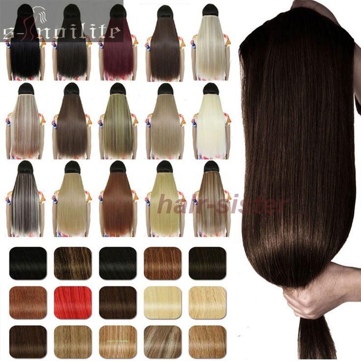 JEDE LÄNGE & FARBEN One piece Clip in wie remy stil Haarverlängerungen 3/4 Voller Kopf Gerade Synthetische Haar für menschliche Kostenlos Shiping