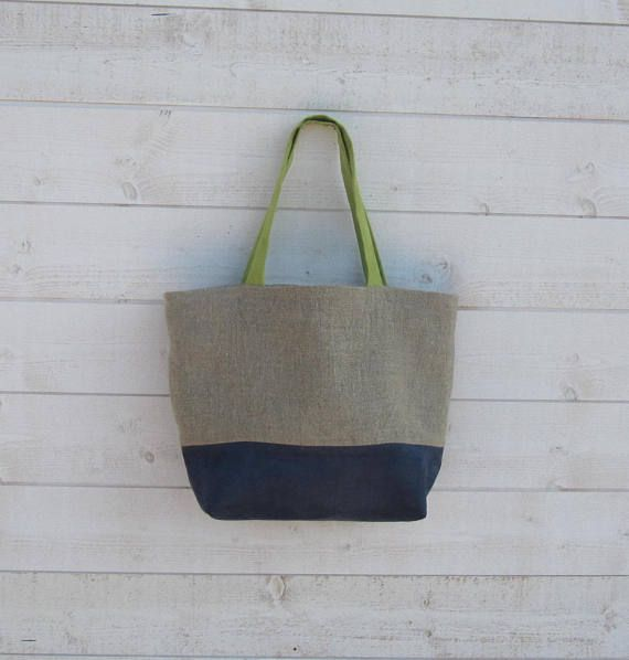 Women raw linen, Suede Blue and green anise, two long handles, zip ... 36d041c68817