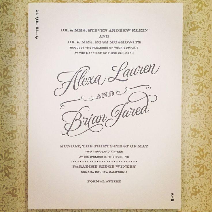 wedding invitations for less than dollar%0A Wedding Invitation   Letterpress   Grey Ink  letterpressed