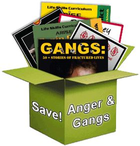 Books for at risk youth containing activities for youth dealing with gang prevention and anger management for teens.