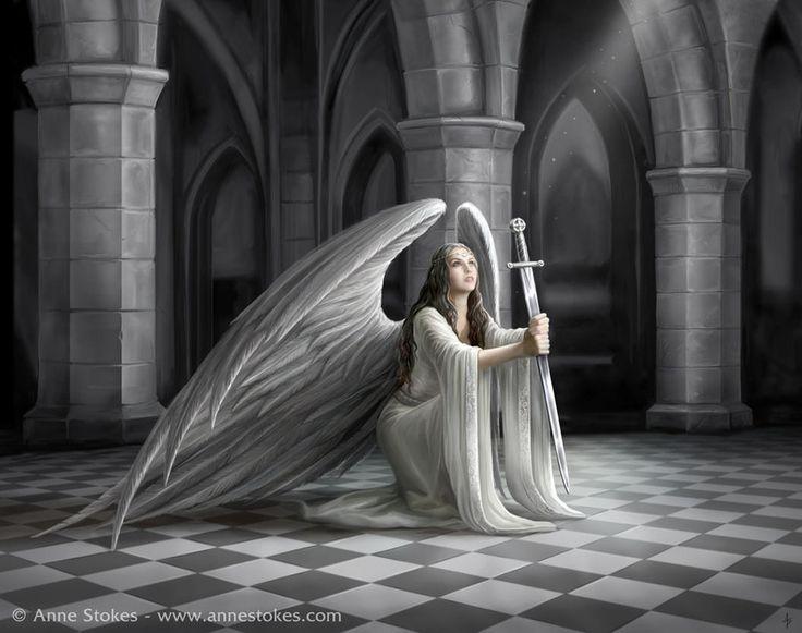 """The Blessing"" (2012-2014), By Artist: Anne Stokes, Angel Series, Digital Art, Leeds, Yorkshire, UK. DeviantArt ID: Ironshod, Artist social media page: https://www.facebook.com/annestokesart"