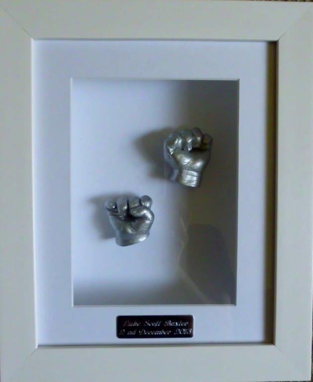 baby 2 hands  3Dplaster casting in a beautiful white mat boards and frame www.keepsake4u.com.au