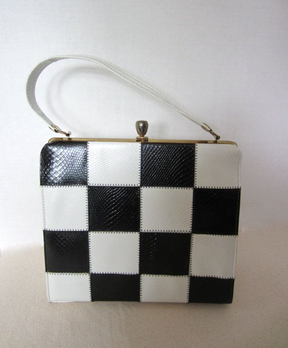MidCentury Mod Black & White Handbag by BlondiesBags on Etsy, $40.00