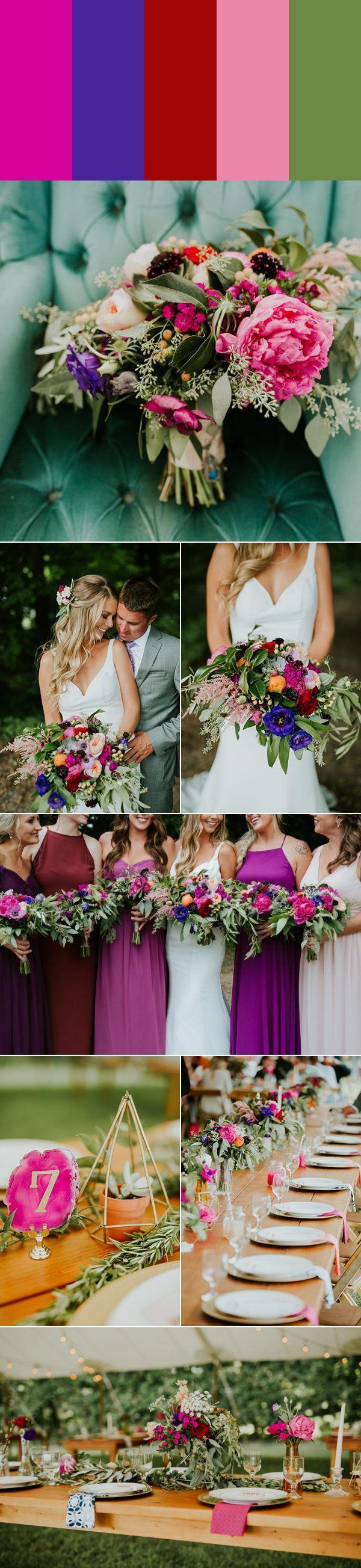 Magenta, indigo, crimson, petal pink, and sage green wedding style | photos by Jamie & Sarah Photography