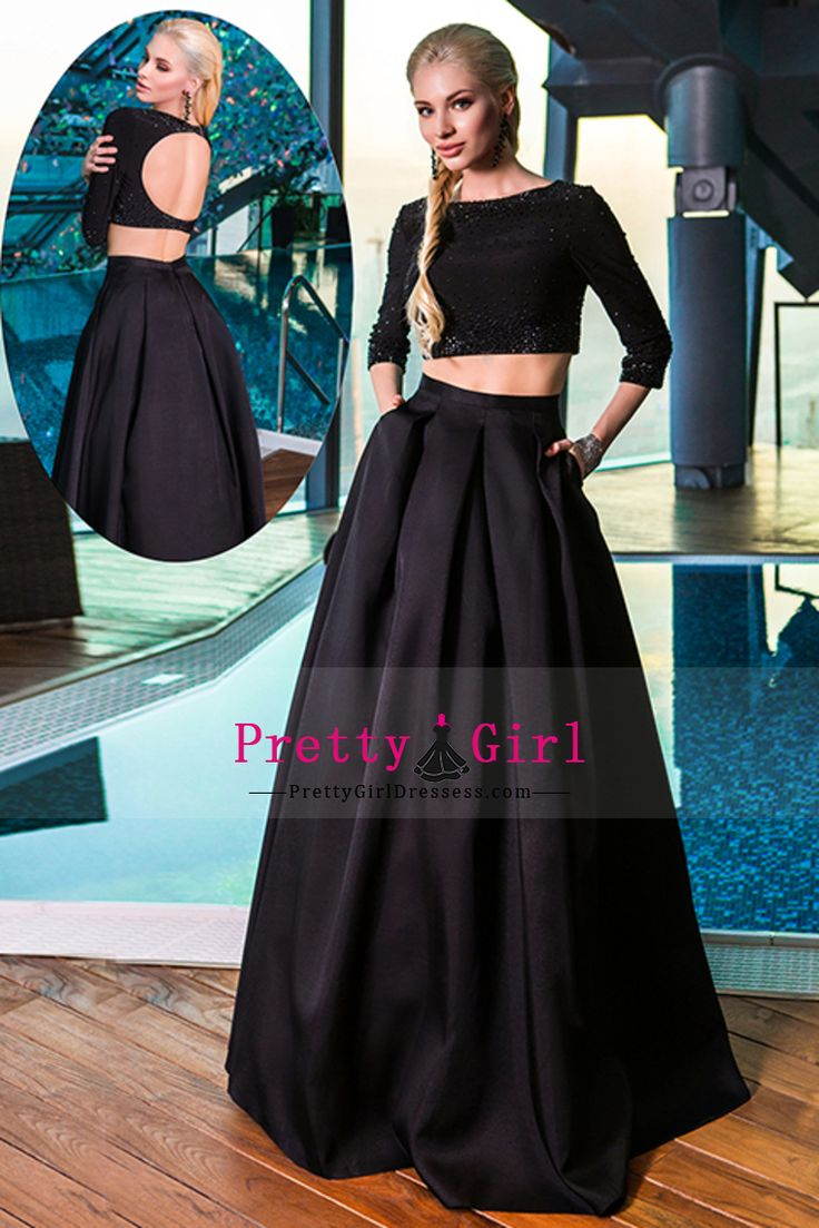 2016 Two Pieces There Quarter Sleeves Prom Dresses Bateau Satin Backless Floor Length US$ 209.99 PGDP23C2A34 - PrettyGirlDressess.com for mobile