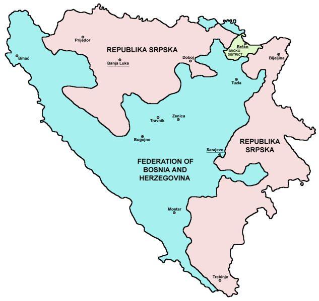 Map Bih entities//Bosnia and Herzegovina consists of the Federation of Bosnia and Herzegovina (FBiH); Republika Srpska (RS); and Brčko District (BD).